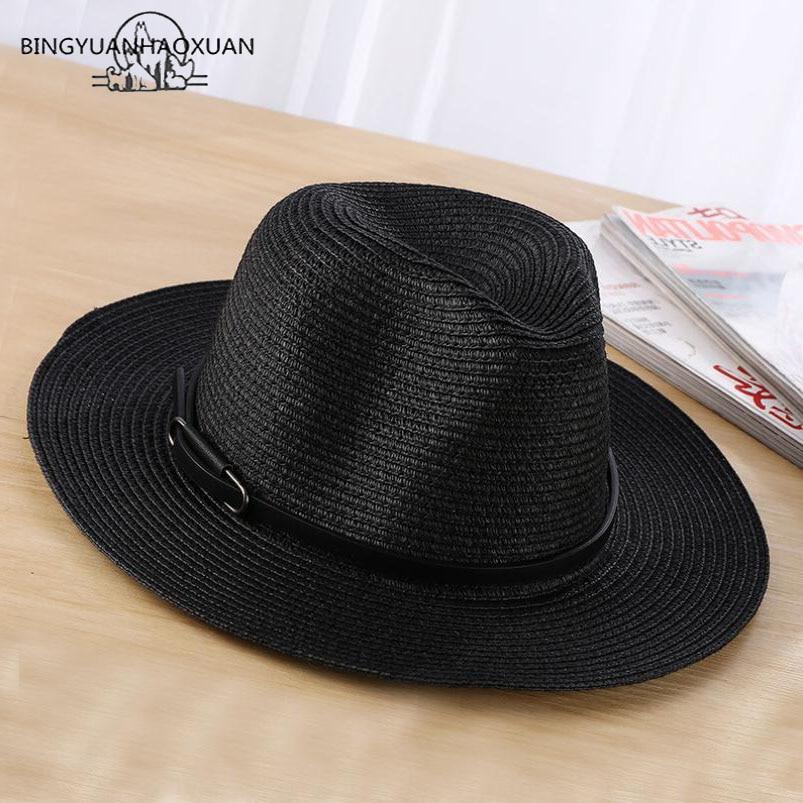 ee31e211 BINGYUANHAOXUAN Brand 2018 Ladies Sun Hat Fashion Casual Women Straw Summer  Beach Hat Wholesale Hats Stylish Cap-in Sun Hats from Women's Clothing ...