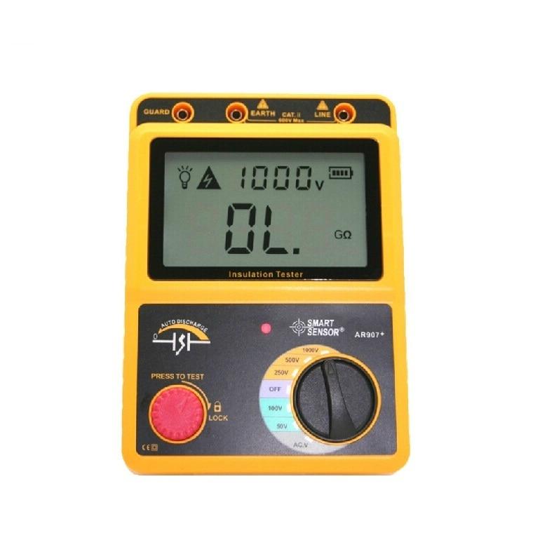 US $116 1 |Digital Mega ohm meter 50 1000V insulation resistance tester  AR907+ shake meter high resistance meter-in Instrument Parts & Accessories