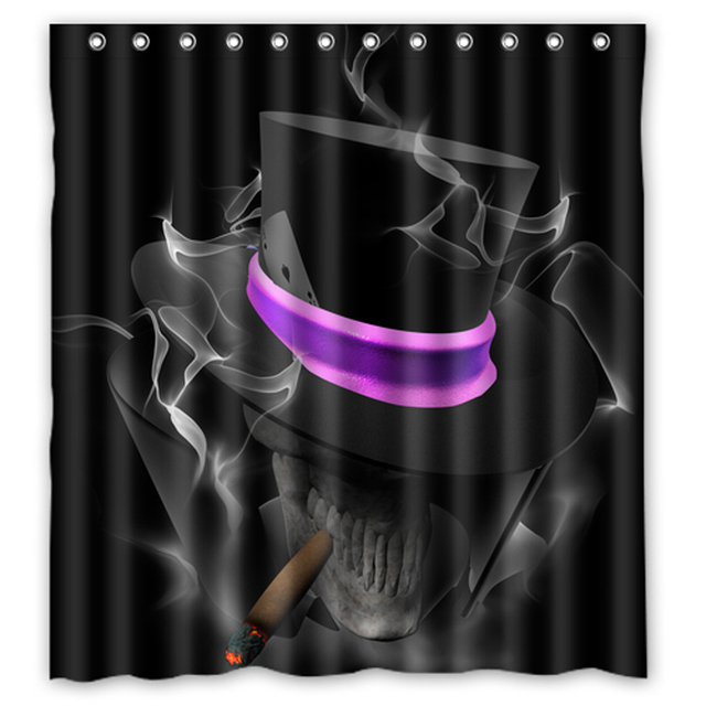Black Smoking Skull Custom Create Design Waterproof Shower Curtain Bathroom Products Curtains Size 48x7260x72
