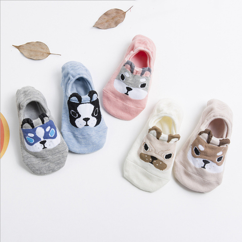 SP&CITY Women Cute Dog Animal Socks Slippers Fashion Summer Cotton Boat Socks Female Soft Breathable Rabbit Thin Low Socks