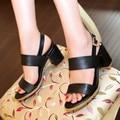 C1046 Naturais Reais Genuínos das Mulheres de couro plataforma Gladiador sandálias de dedo aberto feminino calcanhar grosso bombas mulheres sapatos de verão