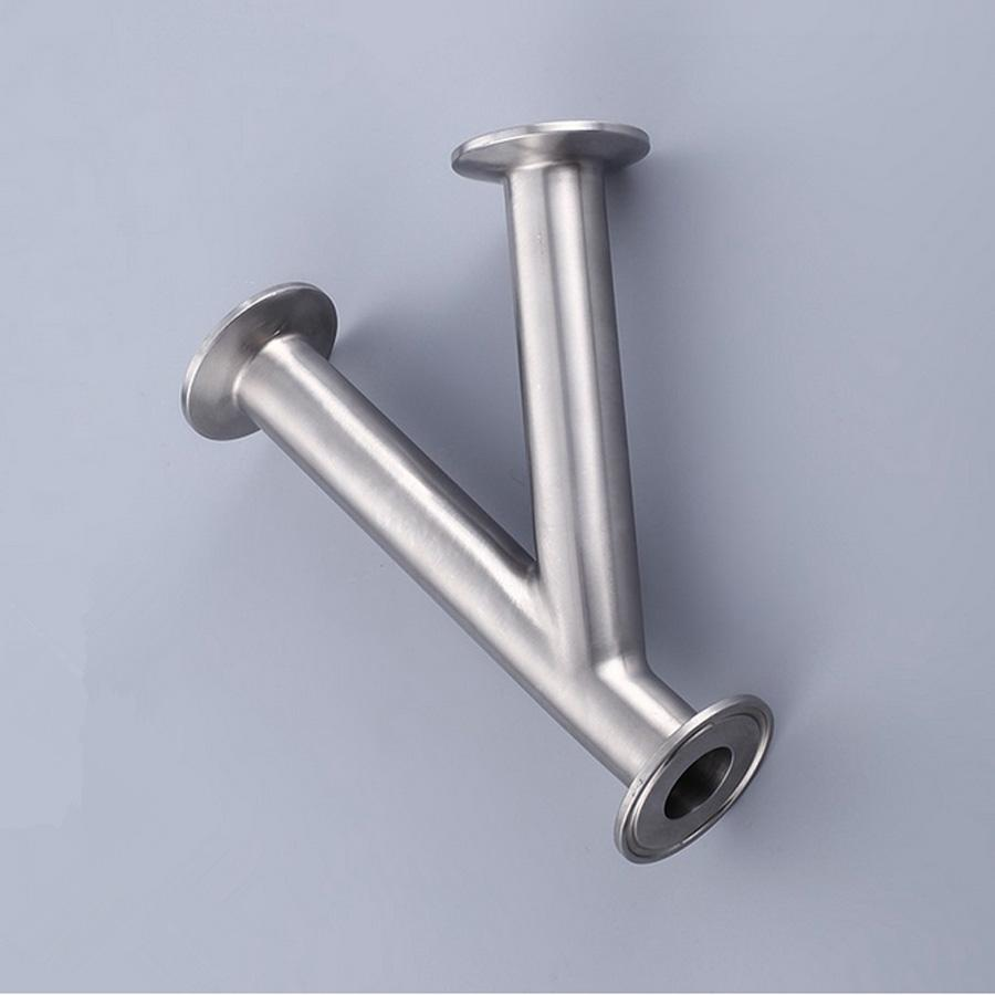 51mm 2 Pipe OD 2 Tri Clamp Oblique Y Shaped 3 Way SUS 304 Stainless Sanitary Fitting Spliter Homebrew Beer Wine 2 tri clamp sanitary 90 degree elbow 51mm pipe od 304 stainless steel fitting 64mm feerule od for homebrew