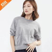 Original Xiaomi mijia10: 07 mangas em torno do pescoço five-point com uma camisola de lã Merino 100% senhoras finas soltas camisa selvagem