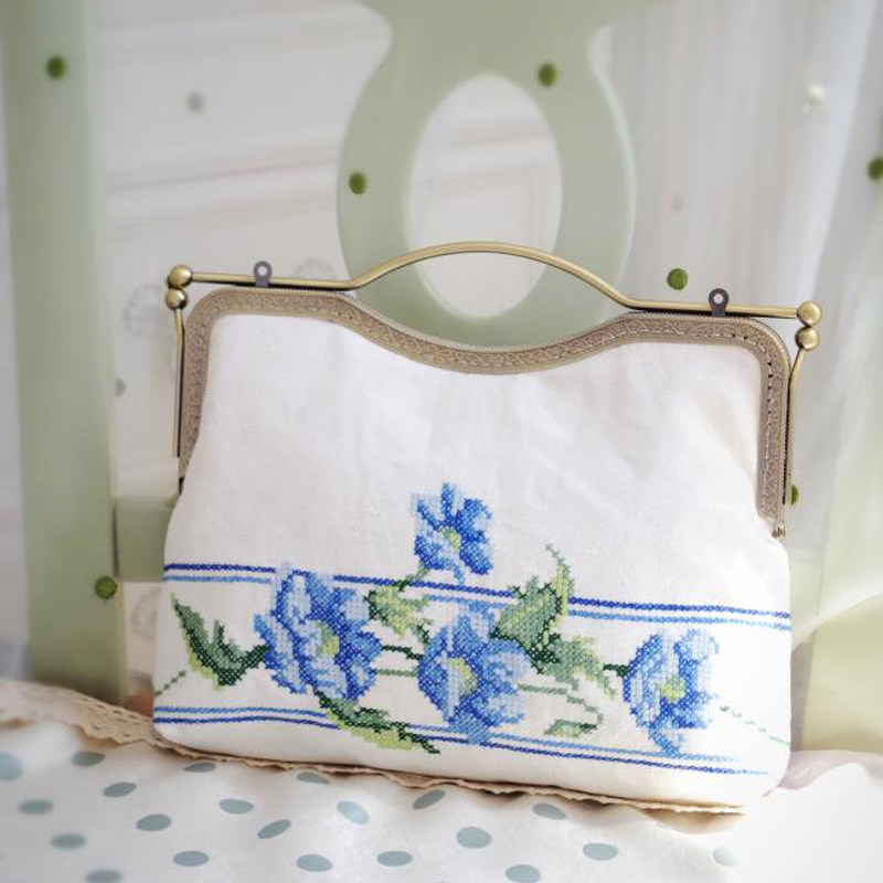 Double-side Chinese Embroidery Flower bag Floral Women Crossbody Bags White Women Handbag Vintage Top-Handle Metal Frame Elegant