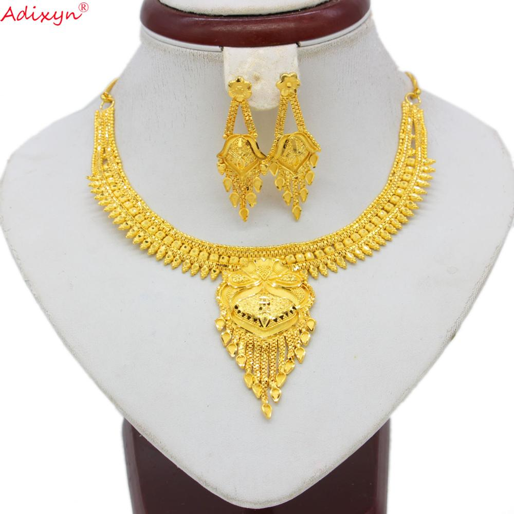 Adixyn India Cute Jewelry Set Gold Color Necklace Earrings Luxury Arab African Wedding Party Gifts N060815(China)