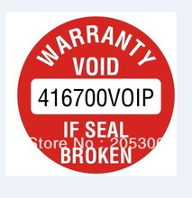 15000pcs 1.2cm customized Warranty sealing label sticker, made of damageable paper, Item No. V11