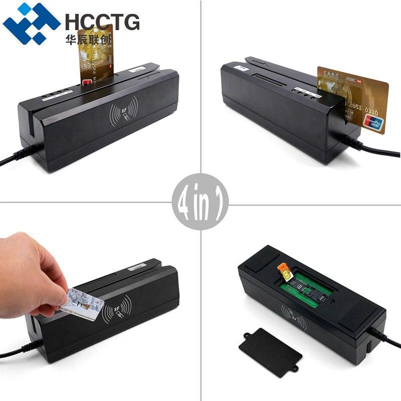 Lecteur de carte à puce magnétique et Support d'écriture IC & NFC & Mifare & MSR & RFID & carte Psam lire tout en un machine pour système bancaire HCC80 - 4