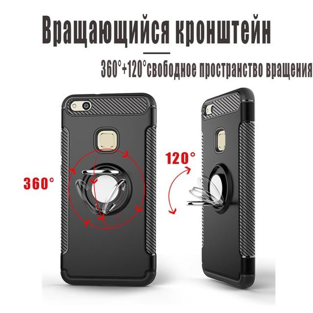 Pour Huawei P10 Lite/P 10 Plus Étui Avec Support De Voiture en silicone De Luxe TPU + PC Couverture Rigide Accessoire Coque Funda Sur P10lite