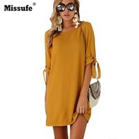 Missfue Yellow O Neck Autumn Dress Casual Ukraine Mini Clothing For Women Elegant Beam Sleeve Streetwear