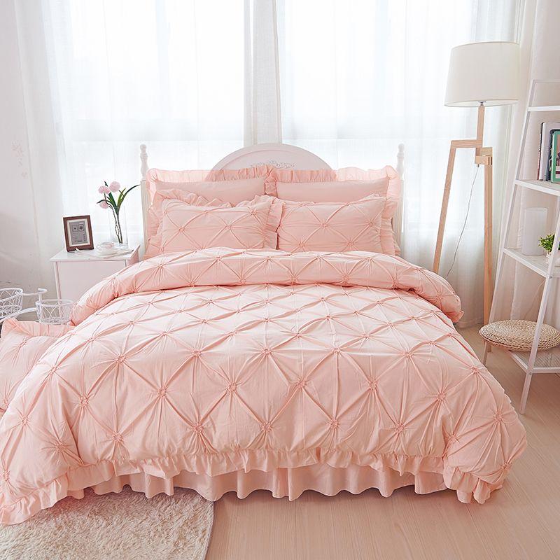 Pink Hand-made ruffle bedding sets luxury 4/6pcs princess duvet cover elegant bedspread bed skirt solid color bedlinen cotton