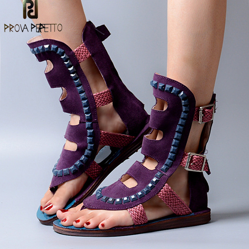 Prova Perfetto New Style Spell Color Women Sandal Real Cow Suede Low Heel Shandal Boots Summer