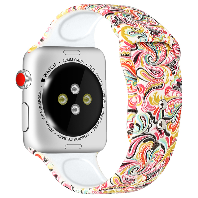 Silicone Strap For Apple Watch band 44mm 40mm pulseira iwatch 42mm 38mm Printing women bracelet apple Watch series 5 4 3 2 1 3