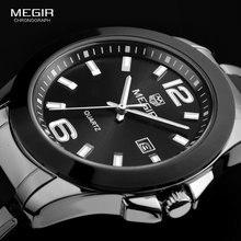 MEGIR męskie proste minimalizm stalowe zegarki kwarcowe czarny srebrny analogowy sukienka zegar Relogios dla biznesmenów 5006G BK 1