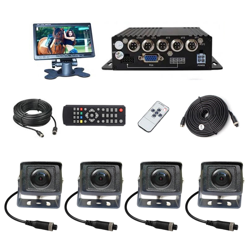 4 Sets 2MP 1080P cameras with 1920*1080P -Channel 64GB SD DVR + 7 HD VGA LCD Screen monitor For Auto Truck Bus Vehicle Kits