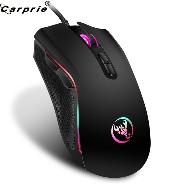 Wired משחקי עכבר פרו גיימר 3200DPI 7 צבע בהיר LED עם תאורה אחורית האופטי ארגונומיה עכבר עכברים נוח מגע 90214