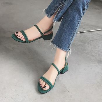 Zapatos con plataforma gruesa de verano y Punta abierta para mujer, sandalias con borra informales romanos, zapatos de verano para mujer, plataforma de cuero genuino
