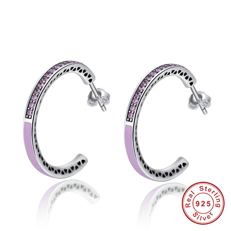 925 Sterling Silver Radiant Hearts hoop earrings Jewelry, Light Pink Enamel & Clear Hoop Earrings for Women