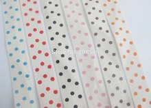 CR0019 Printed Polka Dots Cotton Fabric Ribbon Tape 15MM width 6 colors Mix 24 yards Home decor scrapbooking accessories