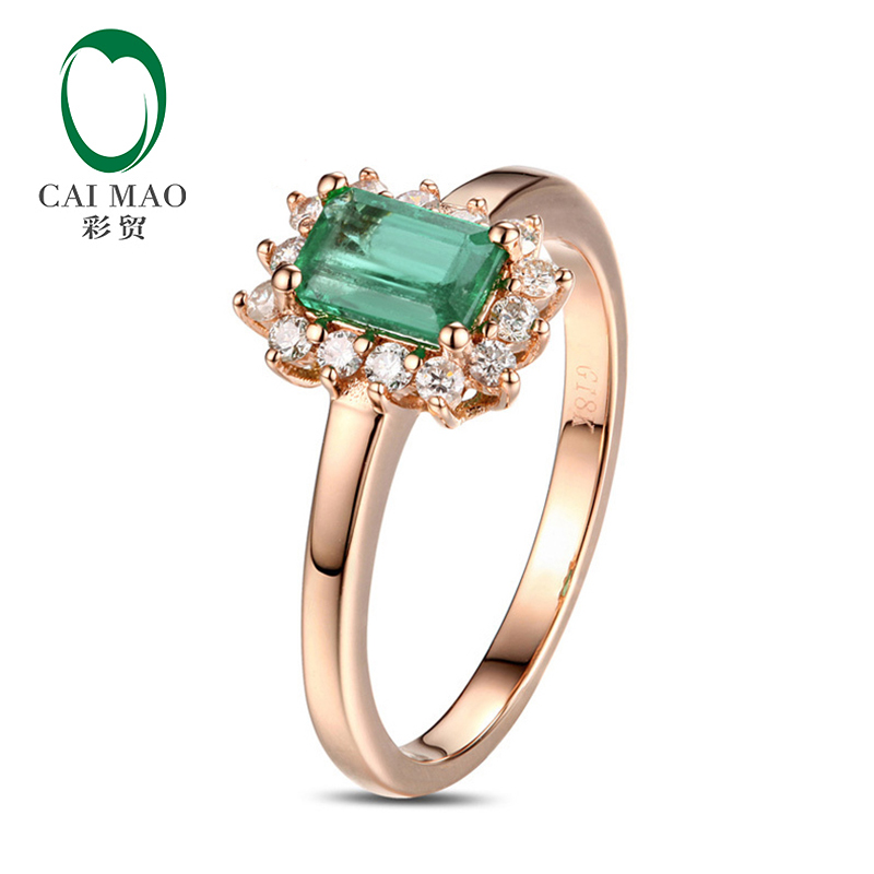 Caiamao Pure 14kt Rose Gold Natural Emerald Halo Round Cut Diamond Engagement Ring Hot Sale new pure au750 rose gold love ring lucky cute letter ring 1 13 1 23g hot sale