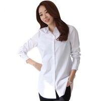 Новые Классические мягкие женские белые рубашки с длинным рукавом тонкие элегантные офисные женские деловые рубашки