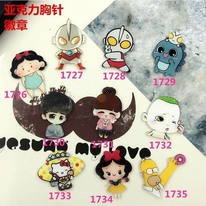 Min Order $5(Mix Order) New Arrival Acrylic Cartoon Character Series Badgecostumes Badge Girls Jewelry Cartoon  XZ185