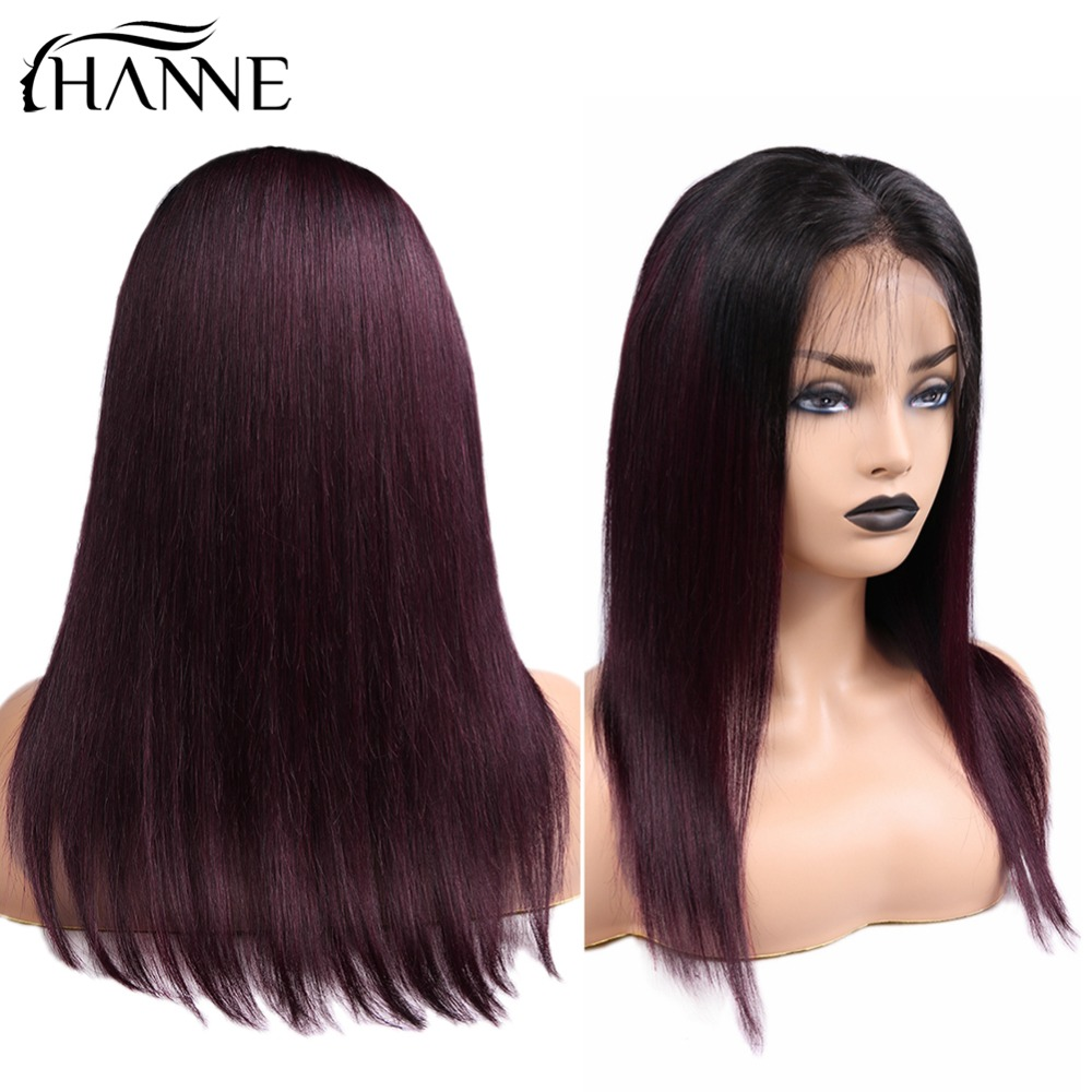 HANNE Hair 12-18inch 13x4 Frontal Human Hair Wigs Pre Plucked With Baby Hair Straight Indian Remy Hair Frontal Wigs 1B/99J Color