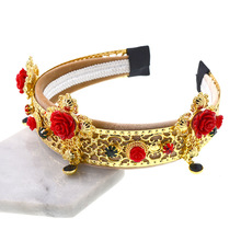 Baroque Gold Crown Wider Geometric Headband Metal Red Cross Flower Earring Tiara Bridal Hair jewelry Accessories