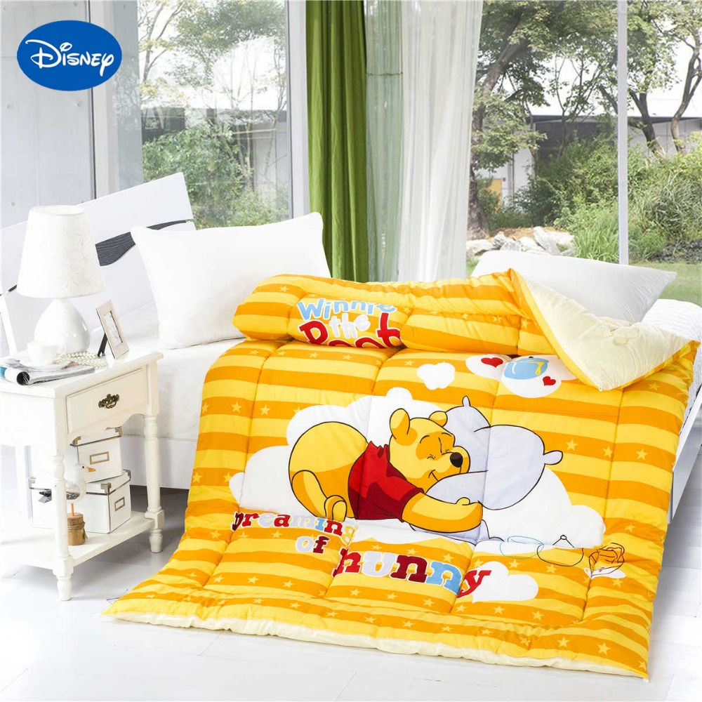 Winnie the pooh toddler bedding - Winnie The Pooh Print Comforters Girls Cotton Covers Autumn Winter Cartoon Character Single Twin Size Quilt