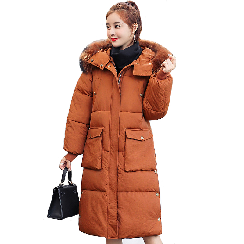 High Quality Women Winter   Down   Jacket With Big Pockets Hooded Fur Collar Female   Coat   Parka Long   Coat