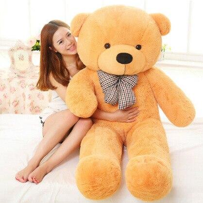 220 см огромный плюшевый медведь мягкие плюшевые игрушки Размер жизни плюшевый мишка мягкие детские мягкие плюшевые низкая цена Рождественский подарок - Цвет: Цвет: желтый
