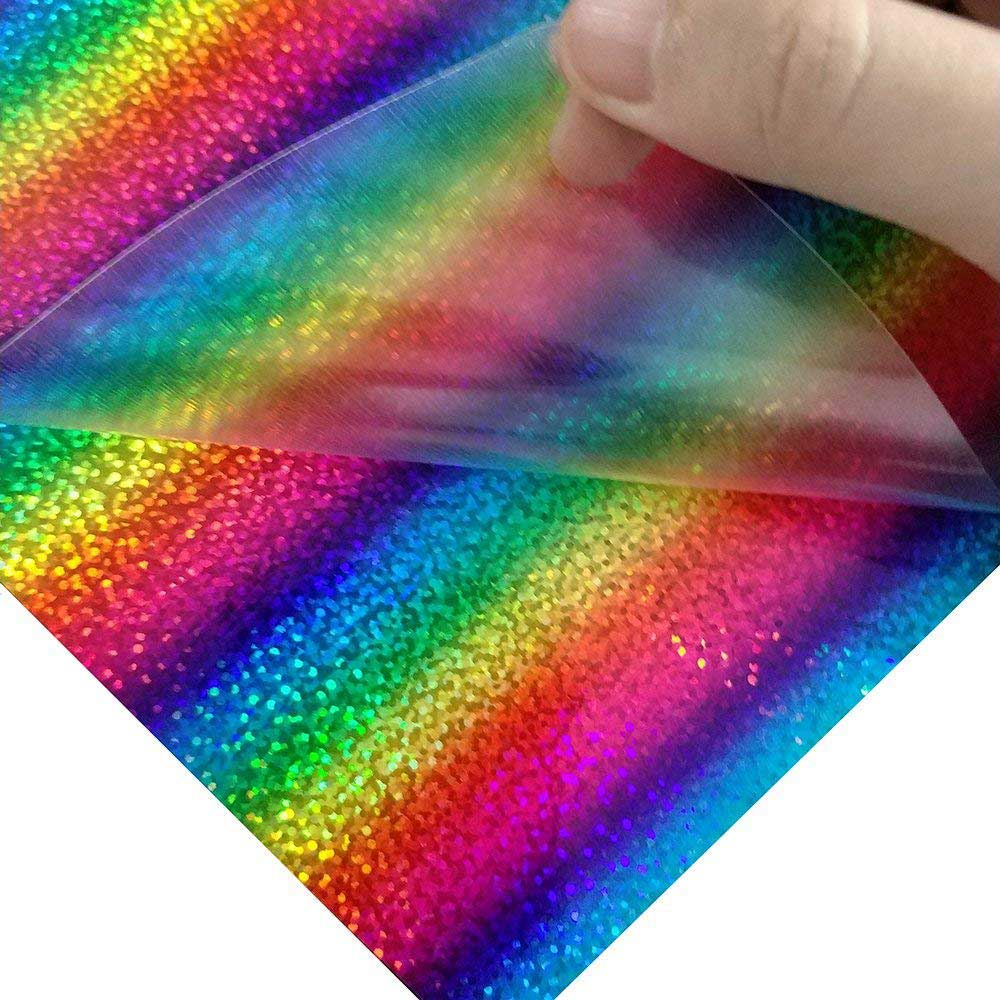 US $9 9 34% OFF|Rainbow heat transfer vinyl 30*50cm heat transfer iron on  vinyl for shirts htv bag DIY clothes easy to cut at home decor hip hop-in