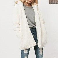 Women Autumn Winter Faux Fur Hooded Overcoat Fleece Warm Cardigan Coat Jacket Elegant Flannel Outerwear Streetwear