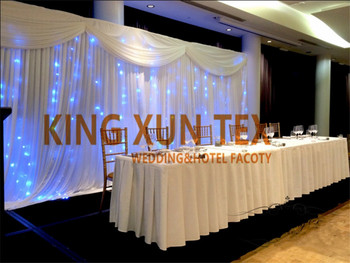 White Color Ice Silk Wedding Backdrop Curtain \ Stage Background And Top Swag Valance With Led Lights