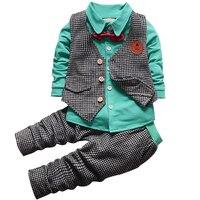 2017 Baby Boys Clothes Set Long Sleeve Plaid Gentleman Suit For Boys Children Clothing Cotton Costume