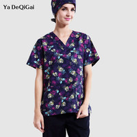 IF new Doctor clothes printing flower short sleeved summer women and men's wear scrub medical service dental uniform