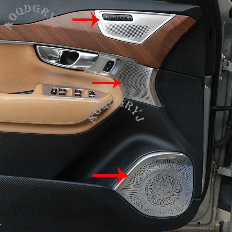Car Styling Fit For 2015 2019 Volvo XC90 Stainless Steel Matte Car Door Stereo Speaker Panel