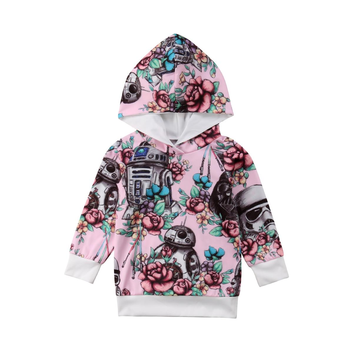 1-5 T Peuter Kids Baby Jongen Meisje Lente Herfst Lange Mouwen Star War Bloemen Hooded Sweatshirt Tops Hoodies Kleding Het Verlichten Van Reuma