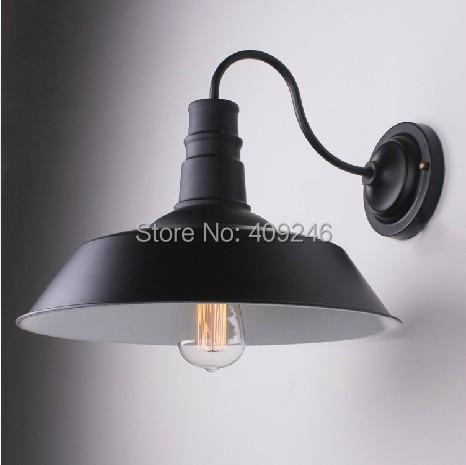 ФОТО Vintage Retro Edison Vintage Iron Wall lamp RH Loft Mirror light E27 Bulb 26CM Black White