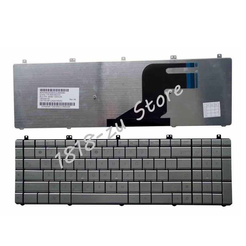 YALUZU NEW US Layout Silver Laptop Keyboard For Asus Series N55 N55SL N55SF N75 N75SF N75SF N75SL N75S N75Y N55SF English Silver