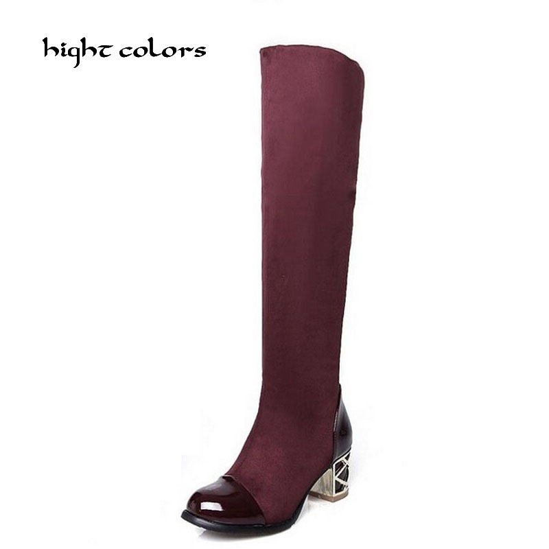 New 2017 Japanned Leather Patchwork Knee High Women Motorcycle Boots Elastic Thick Heel Riding Boots Shoes Woman Big Size 34-43 scoyco motorcycle riding knee protector extreme sports knee pads bycle cycling bike racing tactal skate protective ear