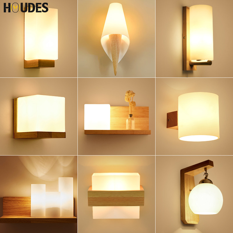 Nordic solid Wood Wall Lamp Modern Minimalist Bedroom Bedside LED Lighting Japanese creative Living Room aisle stair Light modern minimalist 9w led acrylic circular wall lights white living room bedroom bedside aisle creative ceiling lamp