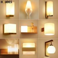Nordic solid Wood Wall Lamp Modern Minimalist Bedroom Bedside LED Lighting Japanese creative Living Room aisle stair Light