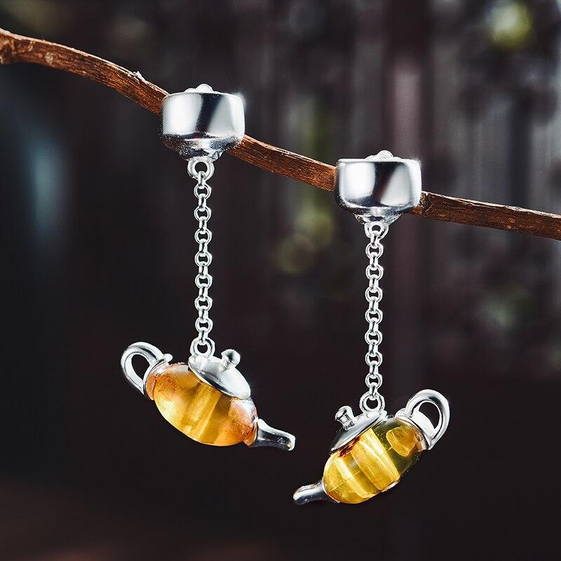 Lotus Fun réel 925 en argent Sterling naturel ambre Original fait à la main Bijoux fins mignon théière Dangle boucles d'oreilles pour les femmes Bijoux-in Boucles d'oreilles from Bijoux et Accessoires    2