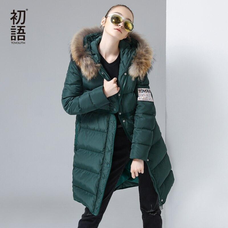 Toyouth 2017 Зима характер печати куртка на гусином пуху Толстовки длинные пуховые пальто женские Вышивка куртка