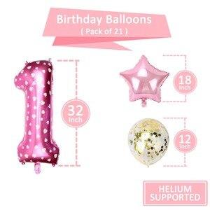 Image 3 - 1st Verjaardag Meisje Party Decoraties Roze Gelukkige Verjaardag Ballonnen Set 12 Maanden Fotolijst Banner Eerste Baby Mijn 1 Een jaar Diy