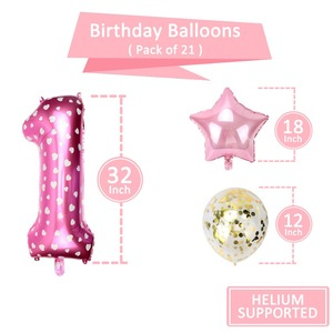 Image 3 - 1st aniversário menina festa decorações rosa feliz aniversário balões definir 12 meses moldura da foto banner primeiro bebê meu 1 um ano diy
