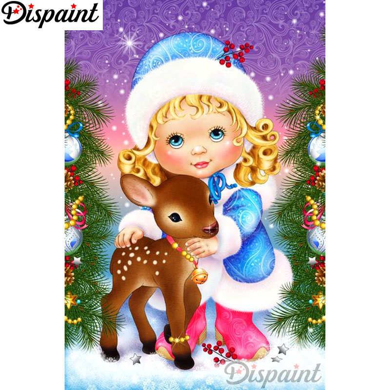 Dispaint Full Square Round Drill 5D DIY Diamond Painting quot Girl deer quot Embroidery Cross Stitch 3D Home Decor A10813 in Diamond Painting Cross Stitch from Home amp Garden