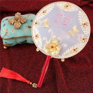 Image 5 - JaneVini abanico de ramo de novia de Boda China tradicional, flores rojas doradas con cuentas, soporte de mano antiguo para novia, para cubrir la cara