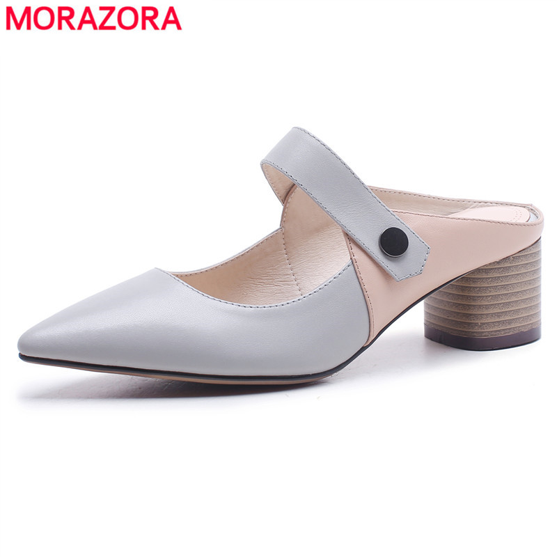 MORAZORA 2018 New fashion genuine leather sandals women shoes square heel pointed toe mixed color Mary Jane high heels lady shoe zorssar fashion real leather womens pumps pointed toe high heels mary jane shoes low heel women shoes woman sandals green