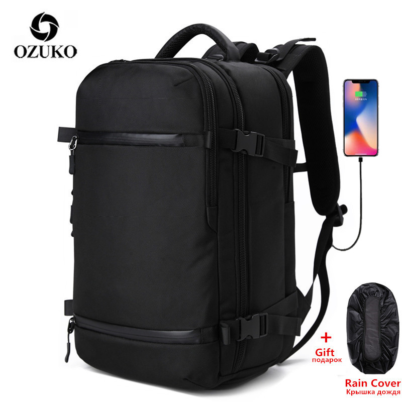 OZUKO Backpack Men Travel Pack Shoes Bag Male Luggage Multifunctional Backpack USB Large Waterproof 17.3 Laptop Women Bags AER